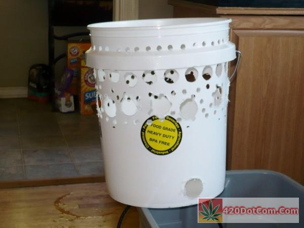 pic of the drilled out bucket